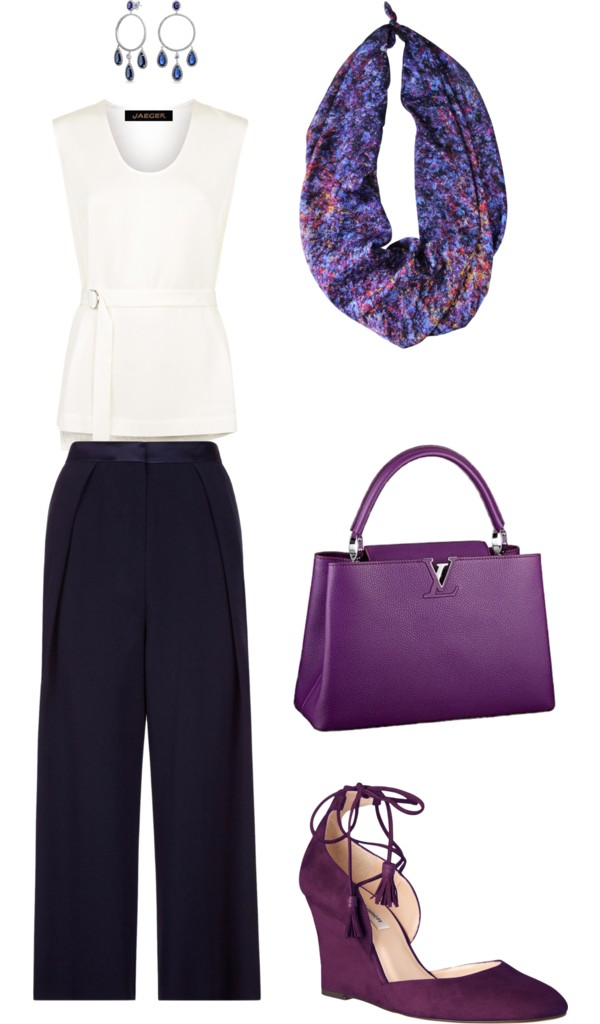 Aithne - Blue White and Purple - Professional Summer Outfit featuring Vibrations of Blue Scarf