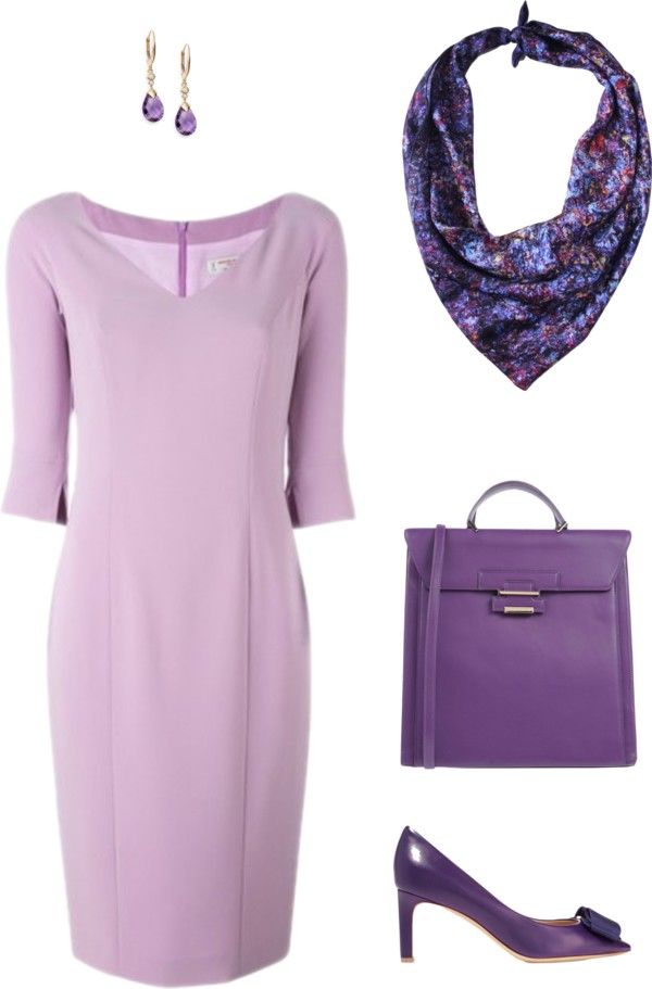 Aithne - Lilac and Lavender - Purple Professional Summer Outfit featuring Vibrations of Blue Scarf