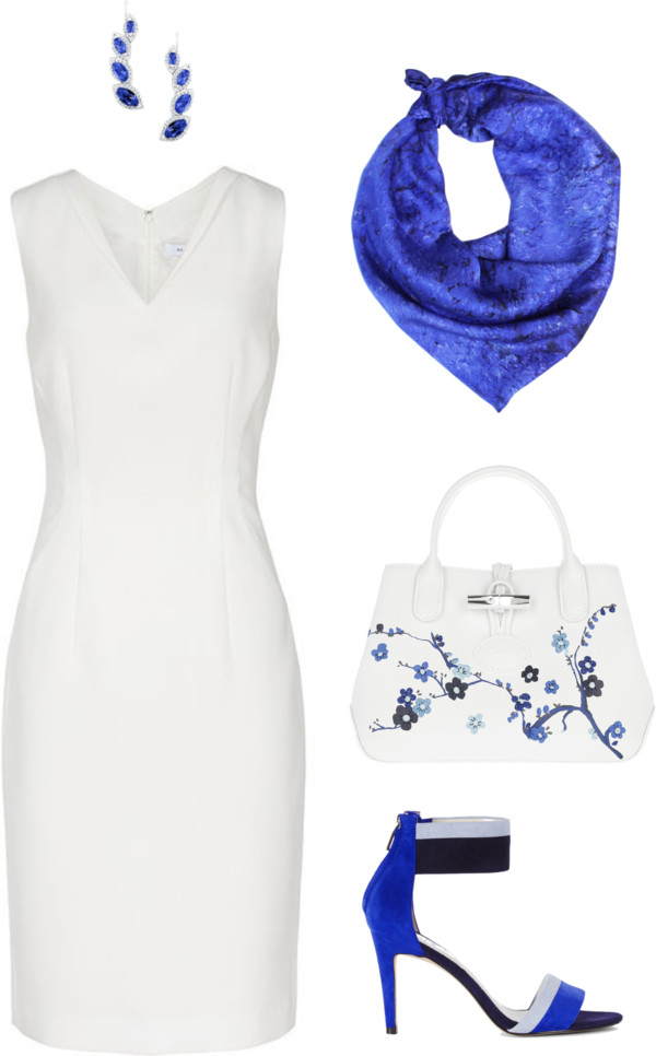 Aithne - White and Blue - Professional Summer Outfit featuring Vibrations of Ultramarine Scarf
