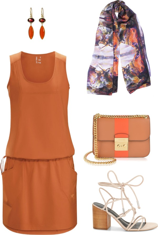 Aithne - Art On Scarf - Terracotta Summer Break Outfit Idea featuring Behind the Mask Scarf