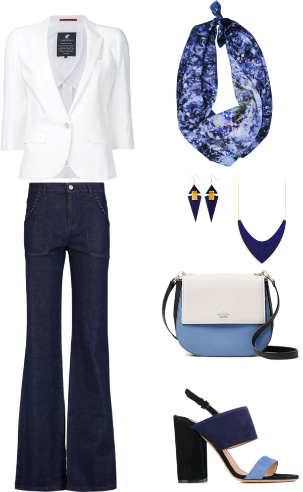 Aithne Style - Elegant Casual Friday Outfit Idea in Navy and White featuring Sound of Infinity Scarf