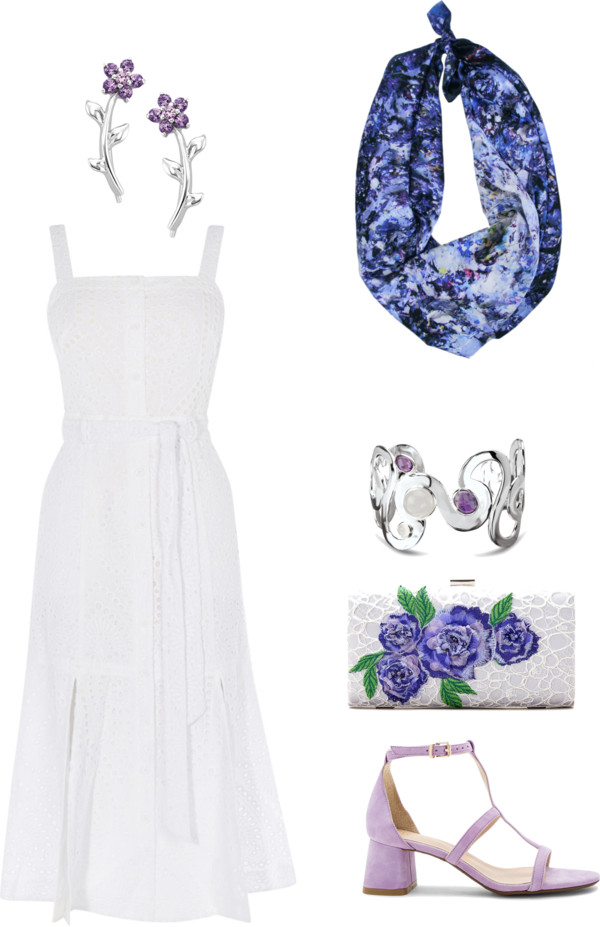 Romantic Summer Outfit in White and Purple featuring Sound of Infinity Scarf