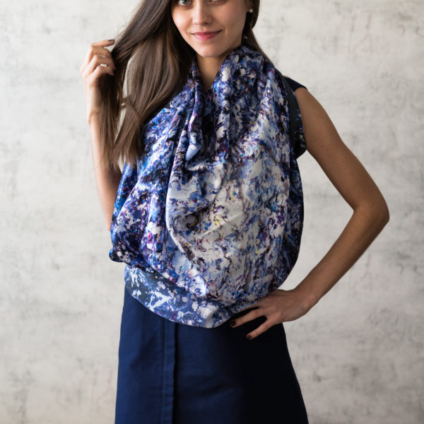 Art on Scarf - Silk Scarf - The Sound of Infinity