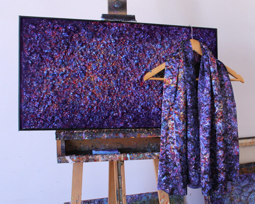 Art on Scarf - Lookbook - Vibrations of Blue