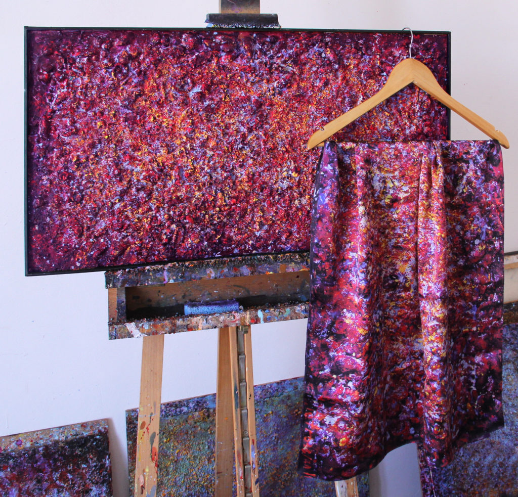 Art on Scarf - Silk Scarfs - Vibrations of Carmine