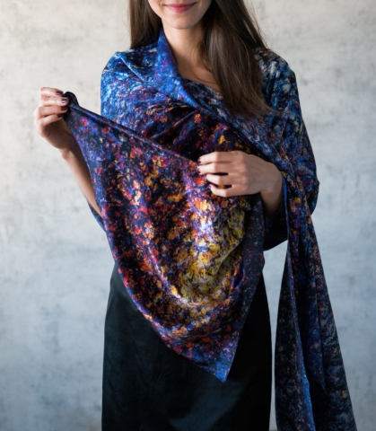 Art on Scarf - Silk Scarf - The Cosmic Spectrum