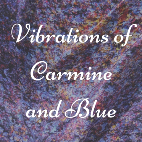 Art on Scarf - Lookbook - Vibrations of Carmine and Blue