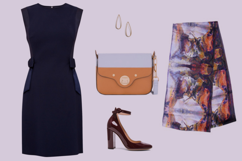 Aithne - Classic Professional Outfit in Navy and Orange