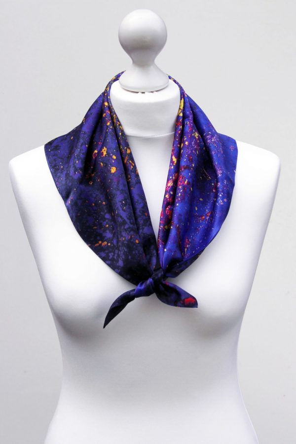 Aithne - Square Silk Scarf - The Flames in Darkness