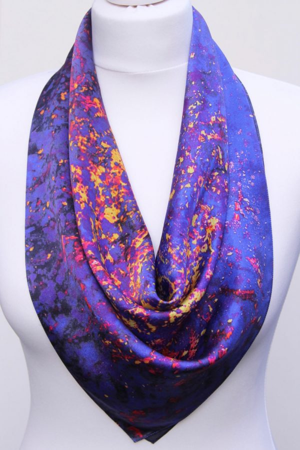Aithne - Square Silk Scarf - The Flames in Darkness1