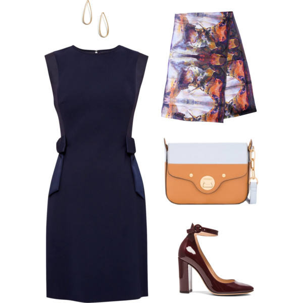 Professional Formal Meeting Interview Outfit in Classic Navy and Orange